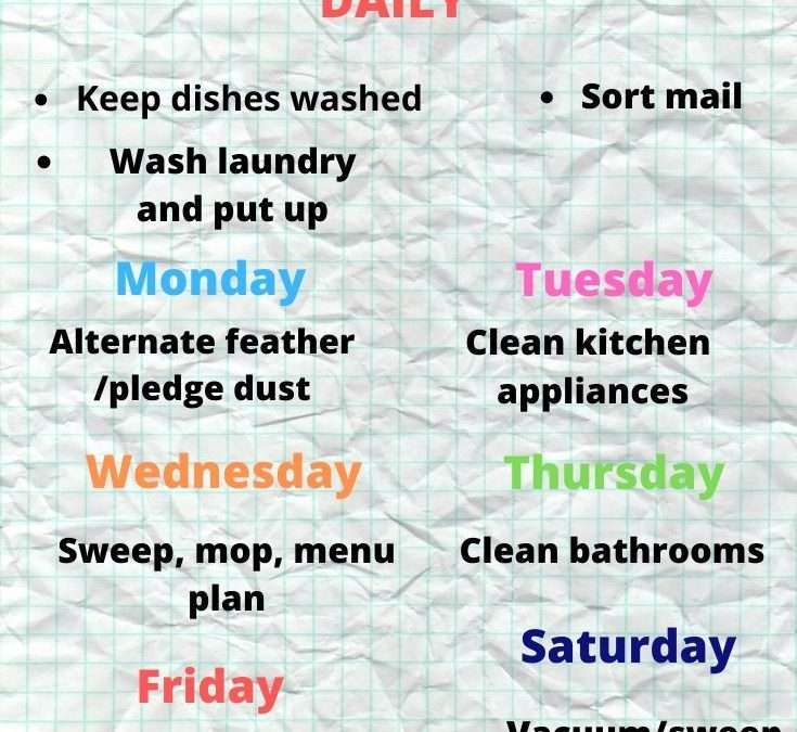 A Realistic Cleaning/Chore plan for those overwhelmed.